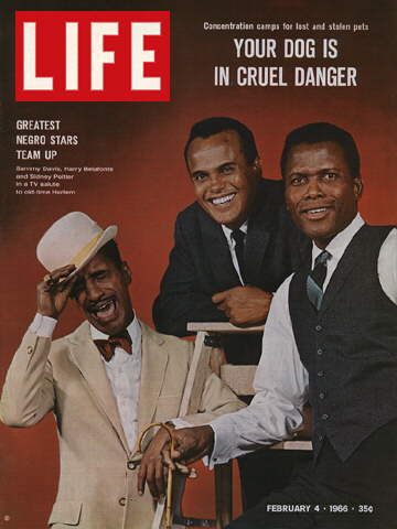 SAMMY DAVIS, HARRY BELAFONTE, AND SIDNEY POITIE.
